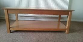 Leekes Atlantic Solid Red Oak Coffee Table L120cm W60cm H45cm plus lower Shelf