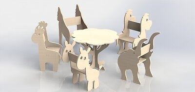 Kit Of File For Cnc Router Or Laser - Vector Of Table And Chair For Children 062