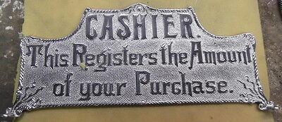 "NICKLE CASH REGISTER TOP SIGN ""CASHIER"" ETC. 14 3/4"" C-C"