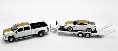 ACME Exclusive HURST Chevy Dually 3500HD & Camaro w/ Flat Bed Trailer GL-51323