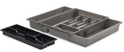 Adjustable Expanding Drawer Organiser Cutlery Tray With Sliding Top Grey & Black