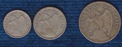 CHILE LOT DE 3 pièces DIFFERENTES EN ARGENT 5C 1913, 10C 1899 & 20 CENTAVOS 1913