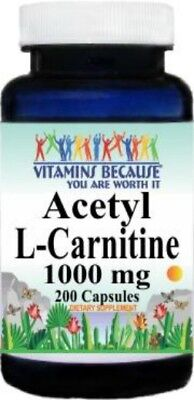 Acetyl L-Carnitine 1000mg Energy-Chronic Fatigue-Focus- 200 caps, used for sale  Charlotte