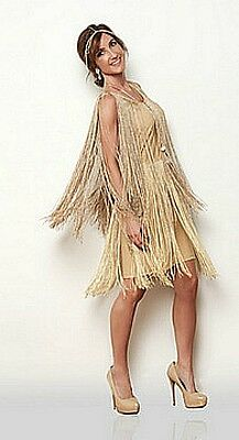 flapper dress Gold fringe 1920's dancer latin salsa Gatsby Costume S M L XL