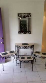 Entry table/Mirror/3piece side table set