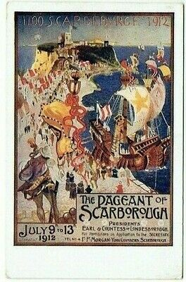POSTER ADVERT POSTCARD THE PAGEANT OF SCABOROUGH YORKSHIRE VINTAGE USED 1912