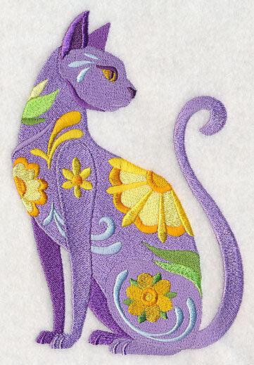 Embroidered Ladies Fleece Jacket - Flower Power Cat L4021 Sizes S - XXL
