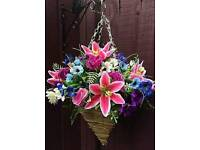 Artificial flower hanging baskets