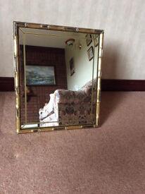 Rectangular Mirror With Ornate Antique Gold/Black Surround