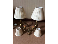 Two Antique Brass Table Lamps With Wall Light And Shades