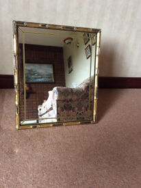 Rectangular Mirror With Ornate Antique Gold/Black Surround