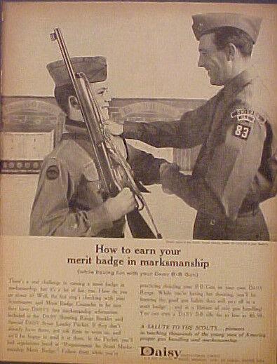 1964 Daisy BB Gun Boy~Cub Scouts Merit Badges Fraternal Organization Toy Ad