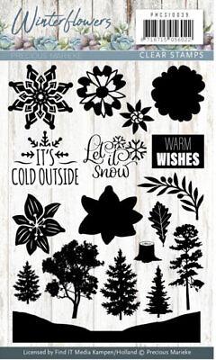 Motiv-Stempel Clear-stamp Winter Flowers Blumen Schneeflocke Precious PMCS10039 ()