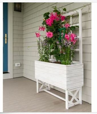 Planter Box Weathered White Wood Trellis Outdoor Garden Vines Rustic Large NEW   ()