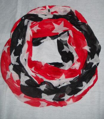 American Flag Flagge Schal LOOP rot weiß Blau Sterne star Rundschal Schlauch NEU ()