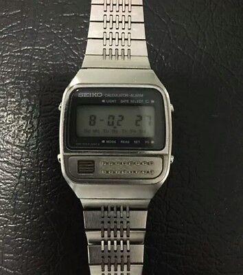 Vintage Seiko Digital Watch Men's Calculator C359-5019 New Battery Runs!