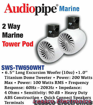 Audiopipe 6 5  2 Way Marine Tower Pod With Clamp Sws Tw650wht 200 Watts Max