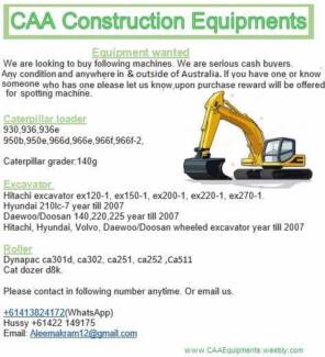 Wanted: Construction vehicles buyers