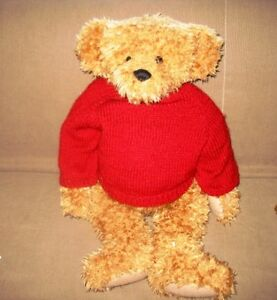 "27"" WONDERFUL GOLDEN GANZ GRANT TAGGED TEDDY BEAR, RED SWEATER"