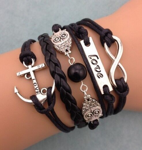 NEW Infinity Owl Love anchor Friendship Leather Charm Bracelet Silver Cute Nice