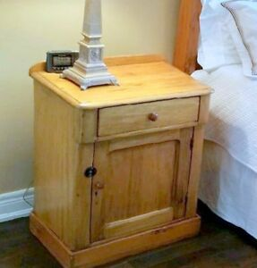 1-ANTIQUE QUEBEC PINE NIGHTSTAND & 1-NIGHT TABLE. Price for each