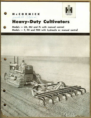 Vintage Ih Mccormick Heavy Duty Cultivators Lm Mu Flffhfhh Advertising Book