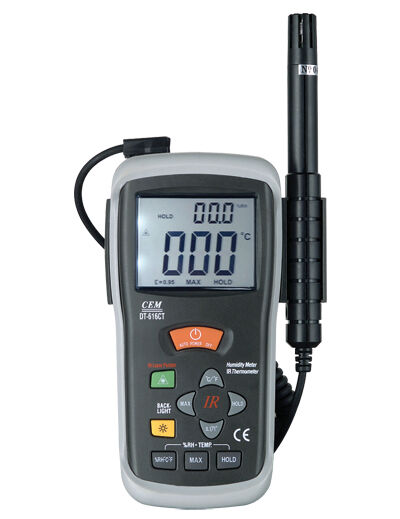 Infrared IR Thermometer -50C-500C -58-932F & Humidity Meter Tester 2in1 DT-616CT
