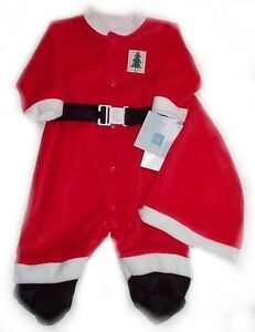LITTLE ME Santa Suit - Red Velour - Baby 3 mos - NEW