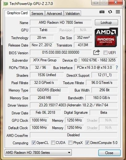 Xfx r7870 black edition overclocked double dissipation 2gb video.