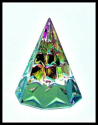 Gorgeous Austrian Crystal Christmas Tree Paperweight in  Peacock Colors