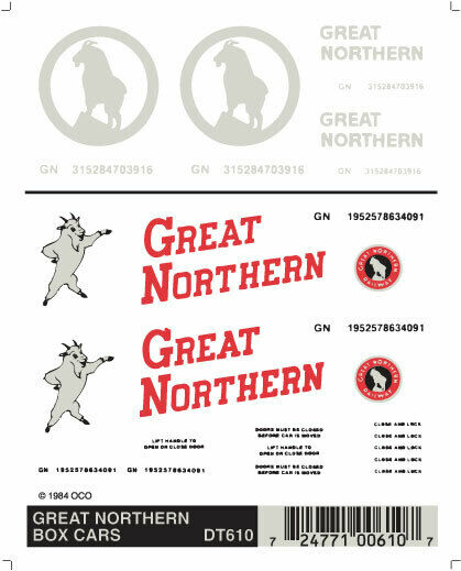 Woodland Scenics Great Northern Box Car Graphics Dry Transfer Decals DT610