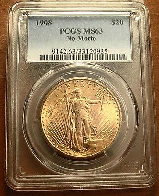 1908 NO MOTTO GOLD $20 SAINT GAUDENS DOUBLE EAGLE COIN   PCGS MS63   124