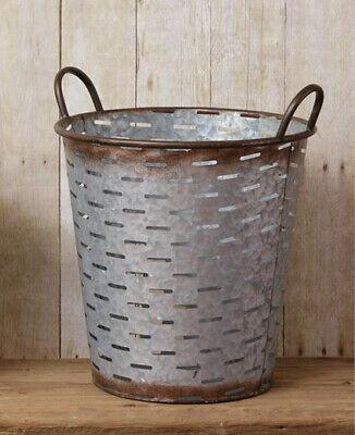 "New Farmhouse Rustic Primitive Galvanized OLIVE BUCKET Trash Basket Handles 13"""
