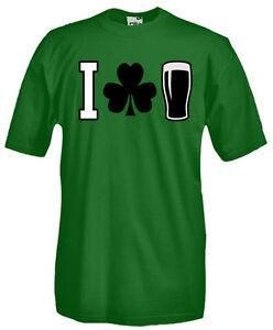 T-Shirt-girocollo-manica-corta-B16-I-love-Guinness-pinta-beer-birra-trifoglio