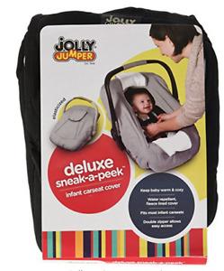 Jolly Jumper Sneak-A-Peek Deluxe, Black infant car seat cover