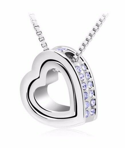 5x Necklace Diamante Crystal Double Heart brand new Job Lot Car Boot Wholesale FREE POSTAGE
