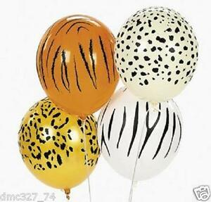 25 Zoo Safari JUNGLE ANIMAL PRINT Party Decorations LATEX BALLOONS ~ NEW