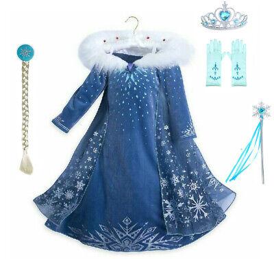 Mädchen 2019 Frozen 2 Prinzessin Elsa Kostüm Cosplay Party Outfit - Frozen Elsa Kostüm Mädchen