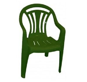 Plastic Low Back Chair Patio Garden Dining Chair Stacking Armchair Green & White