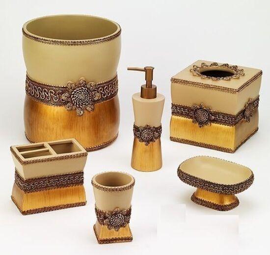 Avanti Linens Braided Medallion 6 Piece Gold Resin Bath