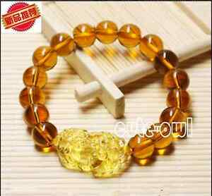 New 12mm Feng Shui Citrine Yellow Pi Yao Pi Xiu Bracelet Bead for Wealth Luck