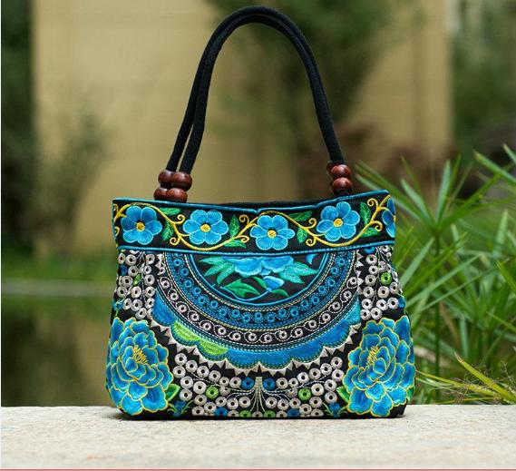 Fashion Women Ethnic Peony Embroidery Handbag Beaded Handle Zip Canvas Tote Bags
