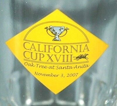 2007 Santa Anita Racetrack Glass Mug (Willy Shoemaker Zenyatta Horse Racing)
