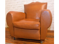 Brown moustache armchair vintage chairs faux leather antique lounge club tub vintage seating castors