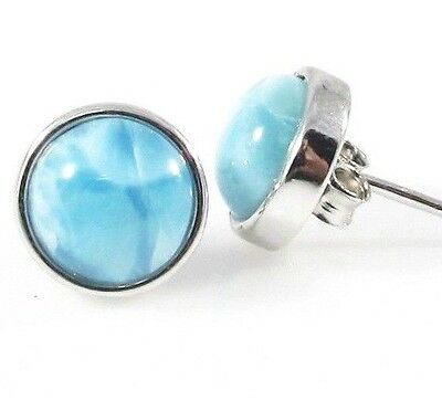 NATURAL OCEAN BLUE  LARIMAR ROUND STUD EARRINGS  .925 STERLING SILVER   8mm