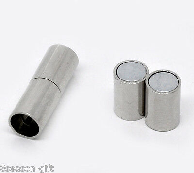 10 Sets Silver Tone Barrel Magnetic Clasps 24x8mm 8 Mm Magnetic Clasps