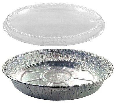 """Handi-Foil 9"""" Round Aluminum Foil Cake Pan w/Clear Plastic D"""