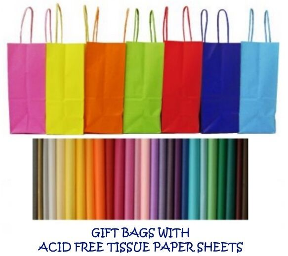 PARTY GIFT BAGS x 5 - WITH TISSUE PAPER - BIRTHDAY ~ WEDDING