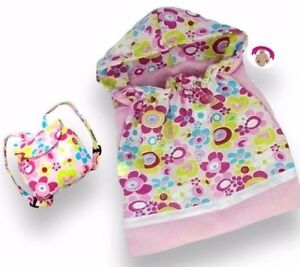 Teddy Bear Clothes fits Build Bears & Dolls Flower Sleeping Bag & Backpack Bag