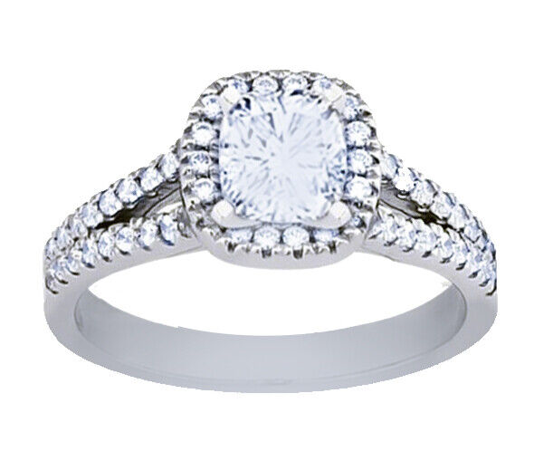 GIA Certified Diamond Engagement Ring 1.26 CTW Natural Cushion 18k White Gold